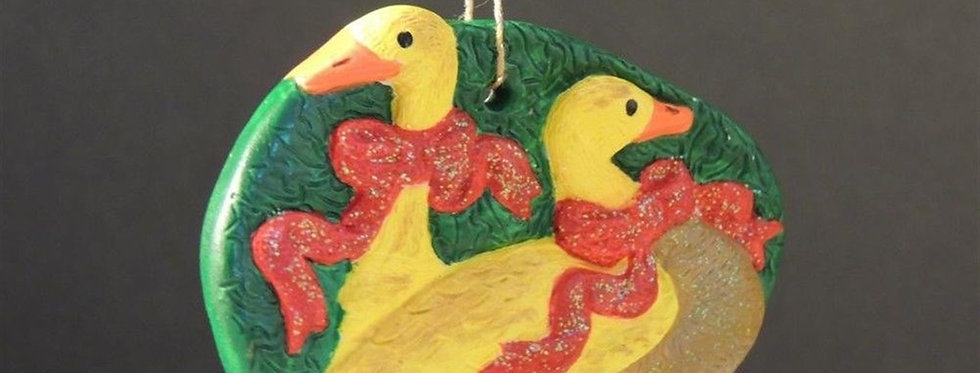 Christmas Ornament - Hand Painted Ducky tree Ornament