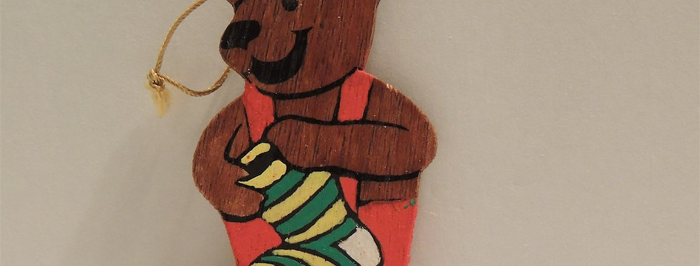 Christmas Ornament - Vintage Hand painted Wood - Happy Bear