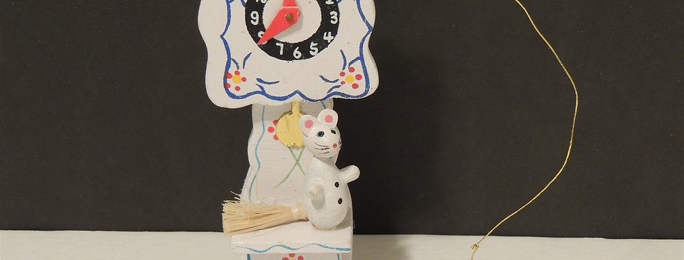 Christmas Ornament - Wooden White grandfather clock