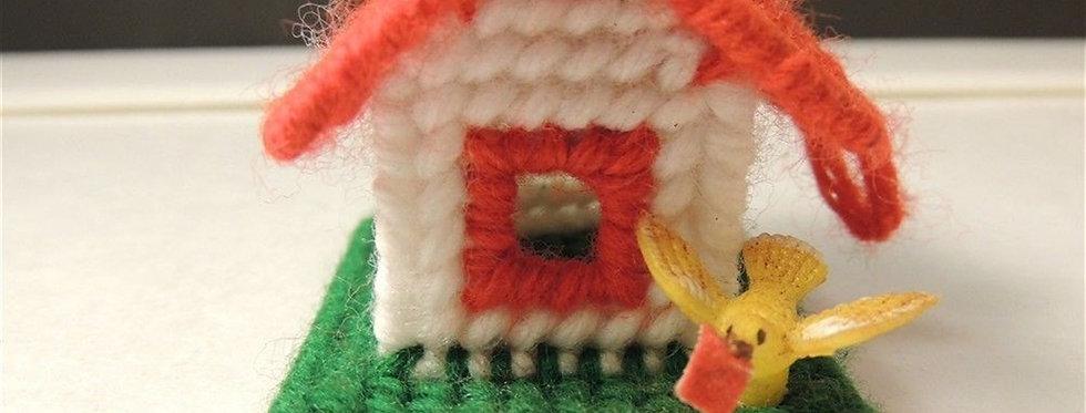 Christmas Ornament - Handmade Plastic canvas Bird house tree
