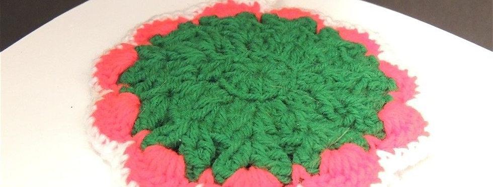 Christmas Decoration - Handmade crochet Green & white doily