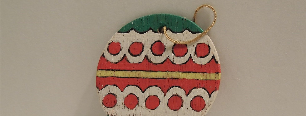 Christmas Ornament - Vintage Hand painted Wood - Ball