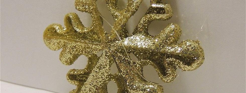 Christmas Ornament - Golden glittery Snow flake