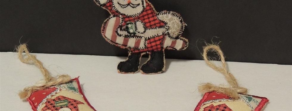 Christmas Ornament - Fabric set of 2 stockings & a Santa