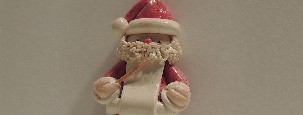 Christmas Ornament - Handmade dough Santa