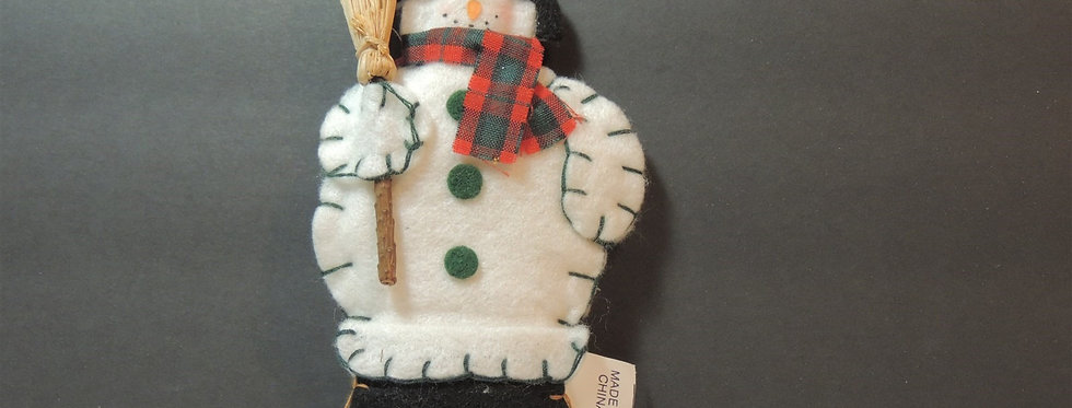 Christmas Ornament - Plush Shabby Chic Snowman