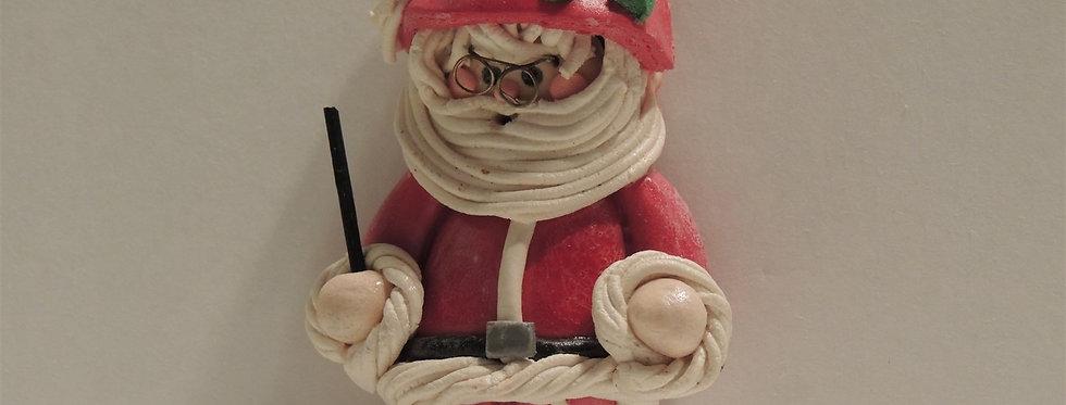Christmas Ornament - Handmade Santa with Glasses Dough