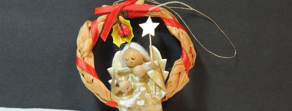 Christmas Ornament - Angel on a straw wreath