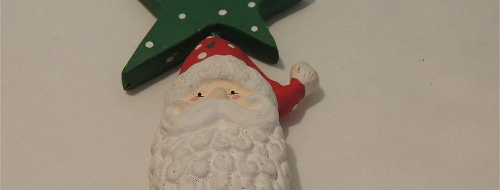 Christmas Ornament - Hand Painted Santa with Star