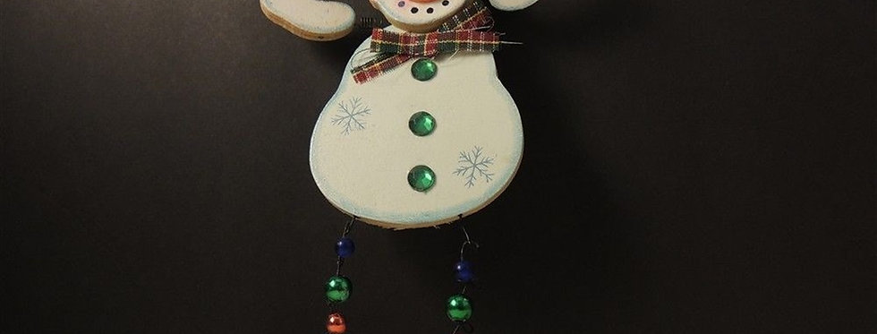 Christmas Ornament - Wooden wire snowman
