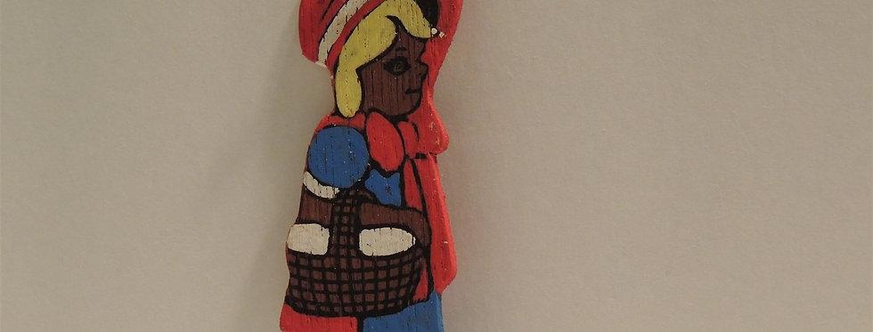 Christmas Ornament - Vintage Hand painted Wood - Basket Lady