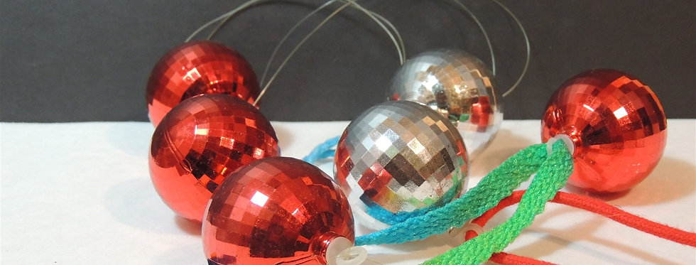 Christmas Discount - Vintage red & silver Disco Balls