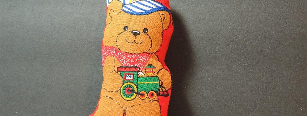 Christmas Ornament - Handmade Fabric Teddy Bear Engineer