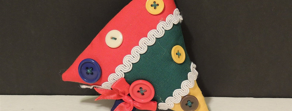 Christmas Ornament - Handmade Fabric tree with buttons