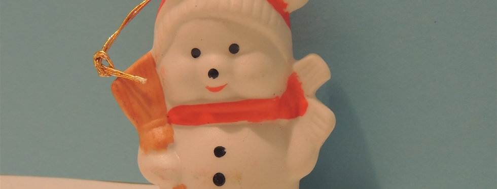 Christmas Ornament - Little white Bear with Broom