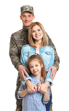 Happy soldier with family on white backg