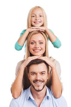 We are family! Happy family of three lea