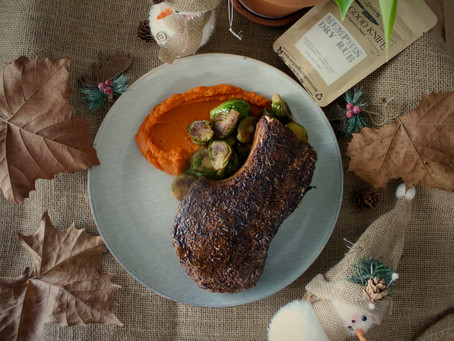Memphis Dry Rub - A Festive Pork Chop with Silky Carrot-Ginger Puree