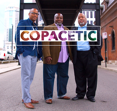 Copacertic CD cover image featuring Ed Hill (left) David Jordan (center) and Derek Brown (right). Photo taken in downtown Columbus, Ohio.