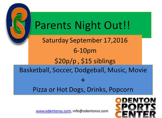 Parents Night OUT! Sep 17,2016