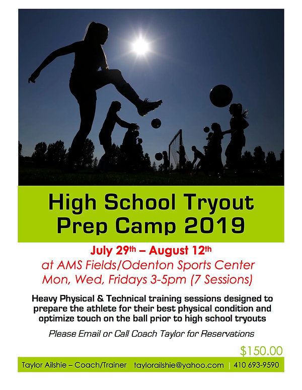 High School Prep Camp Tryouts 2019 Flyer