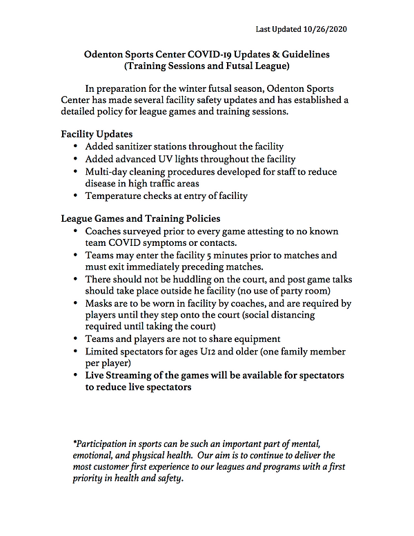 Odenton Sports Center COVID Guidelines &