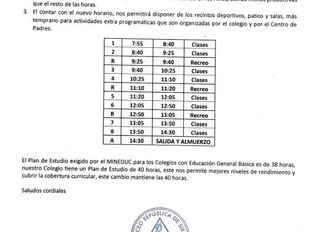 CAMBIO DE HORARIO EN ENSEÑANZA BÁSICA