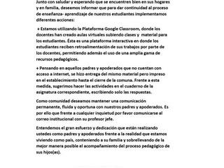 SISTEMA DE TRABAJO DURANTE LA CUARENTENA - Enseñanza Básica
