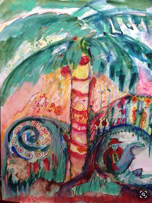 Under the Red Coconut Tree 12x16 inches