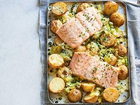 Creamy salmon, leek & potato traybake