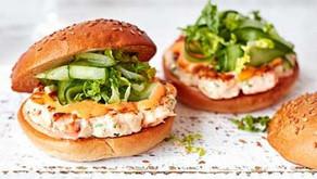 Prawn & salmon burgers with spicy mayo
