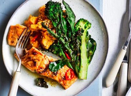 Sesame salmon, purple sprouting broccoli & sweet potato mash