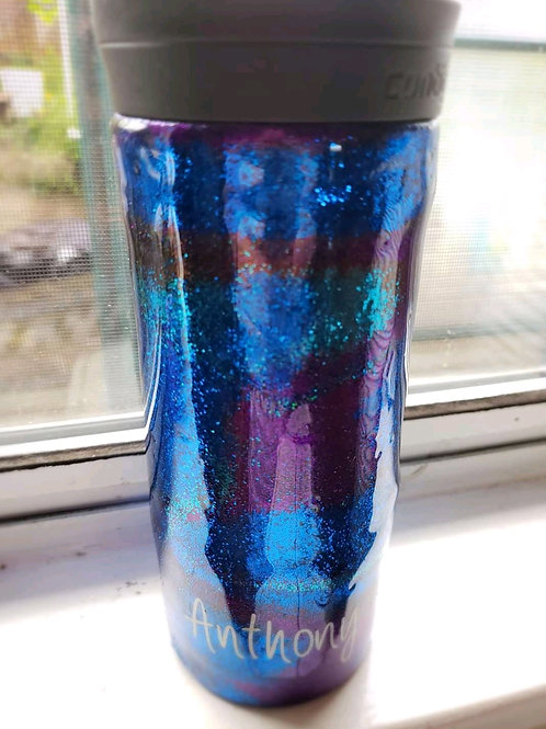 Two tones blue and  purple glitter
