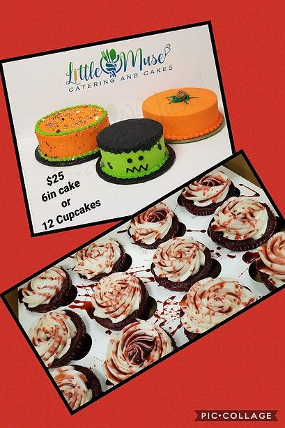 Halloween cake and cupcakes