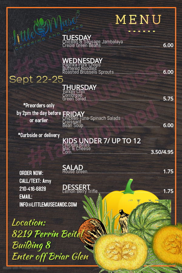 Weekly Menu Sept 22-25 - Made with Poste