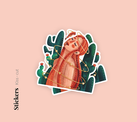 Matte illustrated stickers