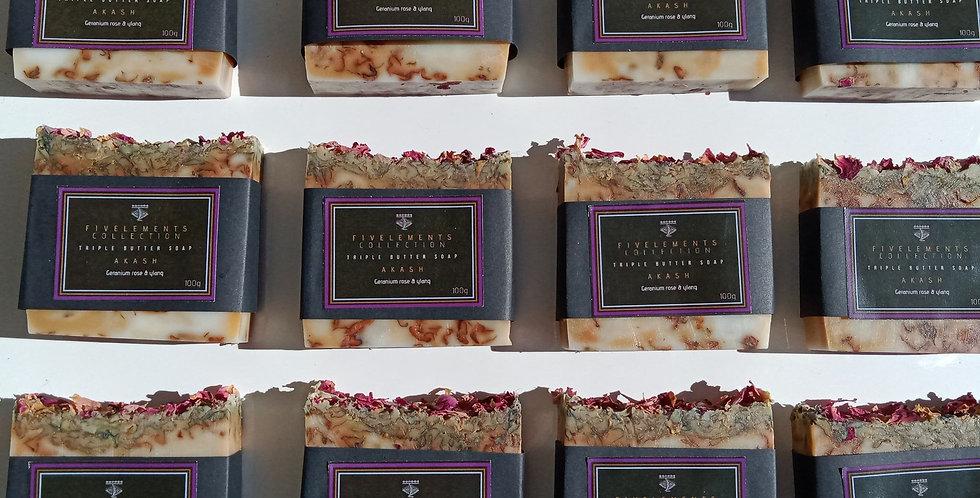 AKASH Triple Butter Soap - Geranium rose & ylang
