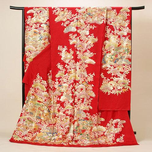 赤地 松桜に桧扇振袖(R1714)