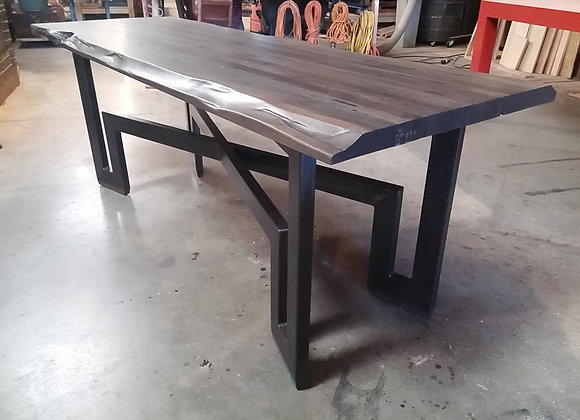 Eugene metal base with live edge butcher block top