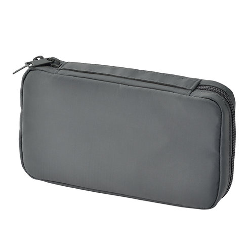 Nylon Book Type Pouch with Handle - Gray