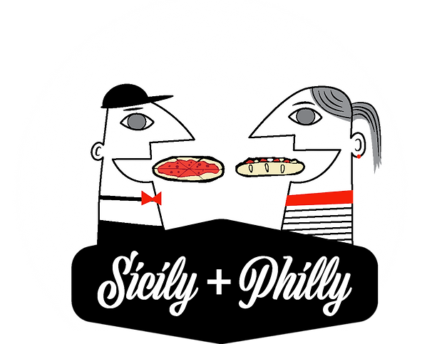 white, red and black graphics of a couple eating a pizza and a philly cheesesteak