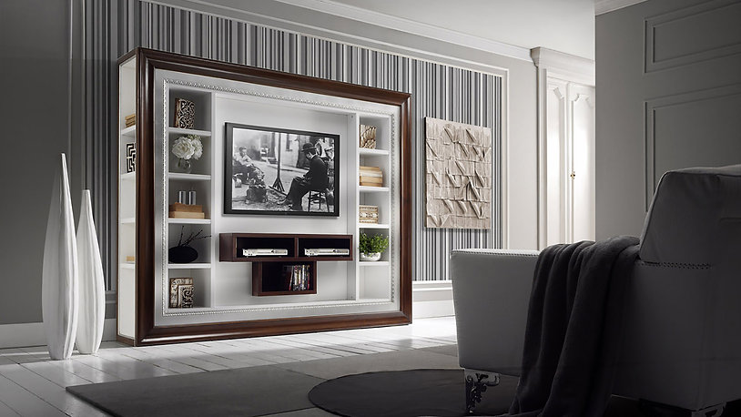 luxury living room with white and wooden entertainment center