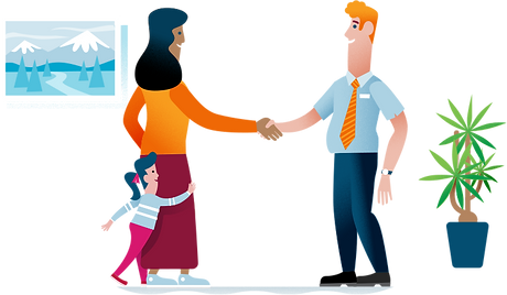 illustration of a real estate agent shaking the hand of a woman
