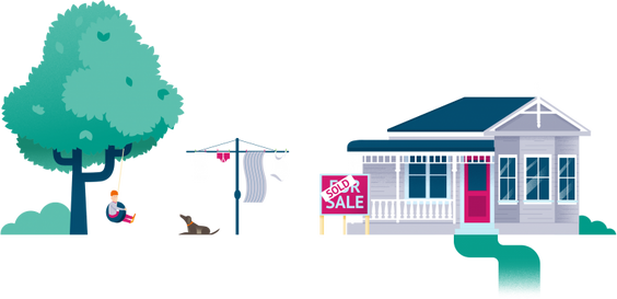 illustration of a grey home with kid in backyard and sold sign