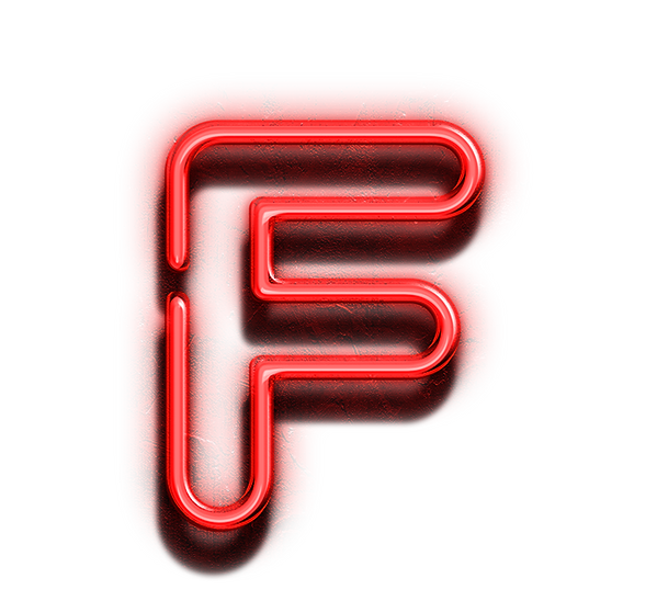 red F neon letter