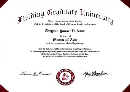 Tatyana El-Kour_Fielding_Master Degree