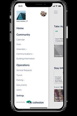 Cohesion Mobile App Side Menu