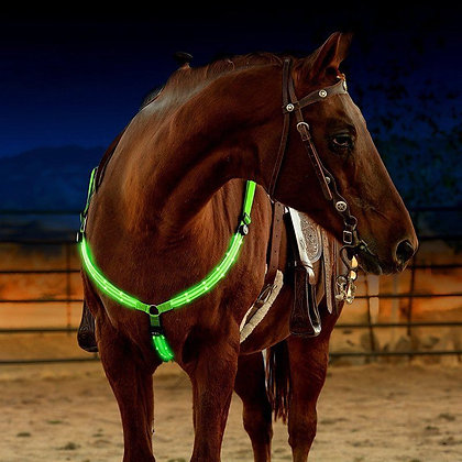 Outdoor Horse Breastplate Dual LED Horse Harness Nylon Night Visible Equipment