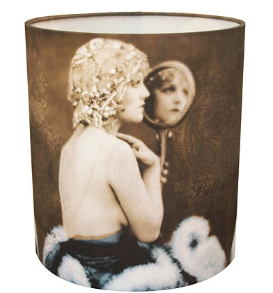 Lady with mirror lampshade