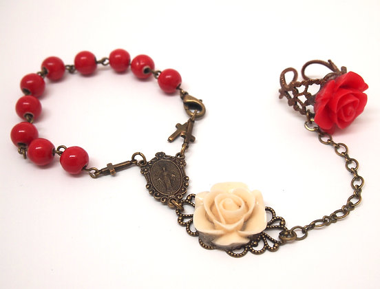 rosary bracelet SCARLET RED & CREAM